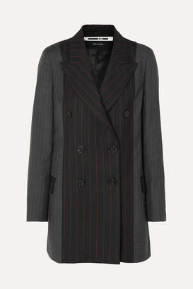 McQ Double-breasted Paneled Pinstriped Grain De Poudre And Wool Blazer - Black