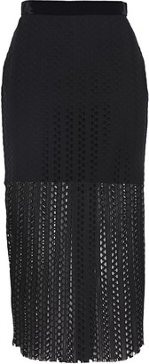 Philosophy di Lorenzo Serafini Velvet-trimmed Guipure Lace Midi Skirt