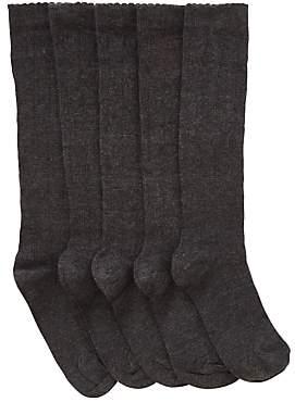 John Lewis & Partners Children's Knee High Heart Socks, Pack of 5, Charcoal