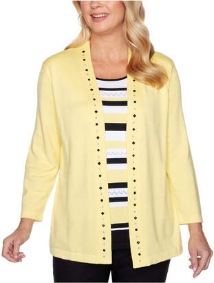 Alfred Dunner Riverside Drive Striped Embellished Layered-Look Sweater