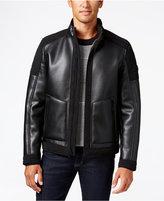 MICHAEL Michael Kors Men's Faux-Leather Faux-Shearling Lined Moto Jacket