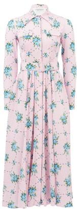 Emilia Wickstead Aurora Rose-print Cotton-blend Shirt Dress - Womens - Pink Multi