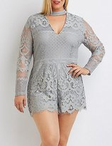 Charlotte Russe Plus Size Lace Cut-Out Mock Neck Romper