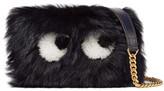 Anya Hindmarch Eyes Mini Leather-trimmed Shearling Shoulder Bag - Navy
