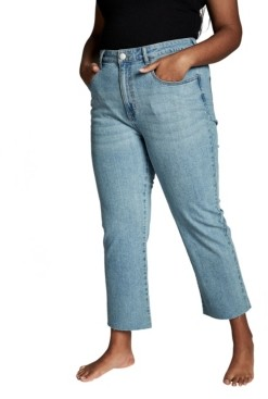 Cotton On Trendy Plus Size Straight Stretch High Rise Jeans