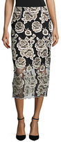 T Tahari Embroidered Floral Midi Skirt