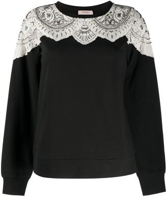 Twin-Set Embellished Lace Sweatshirt
