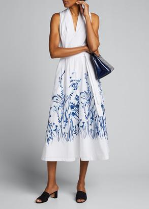 Lela Rose Floral Print Belted Poplin Midi Dress