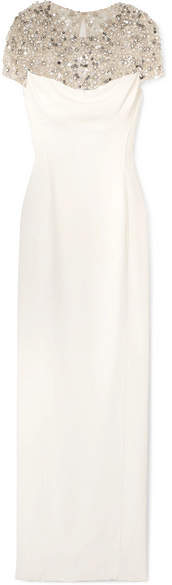 Jenny Packham Olivia Embellished Tulle And Cady Gown - White