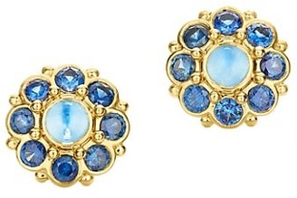 Temple St. Clair Celestial 18K Yellow Gold, Moonstone & Blue Sapphire Stella Cluster Earrings