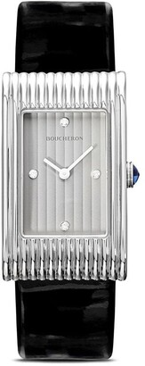 Boucheron medium diamond Reflet black leather strap watch