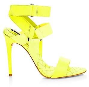 Alice + Olivia Women's Talene Mix Media Leather Ankle Strap Sandals