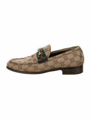 Gucci GG Canvas Leather Trim Embellishment Loafers