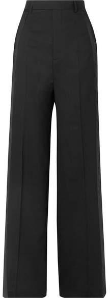 Rick Owens Satin-trimmed Wool-blend Wide-leg Pants - Black