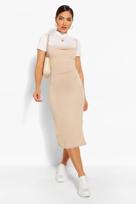 boohoo Funnel Neck T-Shirt & Midi Slip Dress