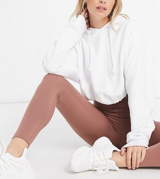 ASOS DESIGN Petite leggings with deep waistband in cocoa