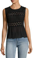 Anna Sui Women's Embroidered Panel Peplum Top