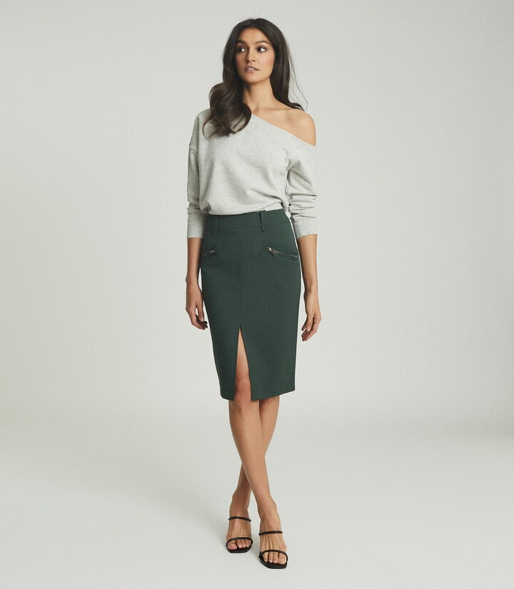 Thumbnail for your product : Reiss Kassidy - Pencil Skirt With Zip Detail in Green