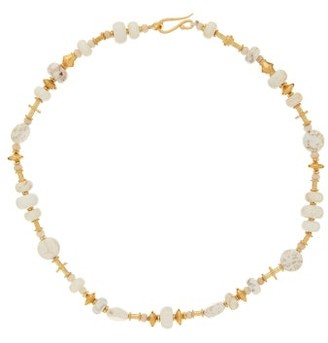 Katerina Makriyianni - Beaded Howlite And 24kt Gold-plated Necklace - White Gold
