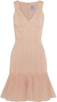 Herve Leger Tulle-paneled Jacquard-bandage Mini Dress - Cream