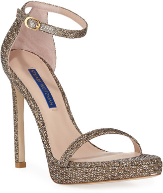 Stuart Weitzman Nudist Disco Metallic Sandal