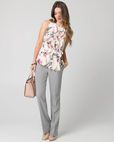 Le Château Floral Print Twill & Jersey Ruffle Top