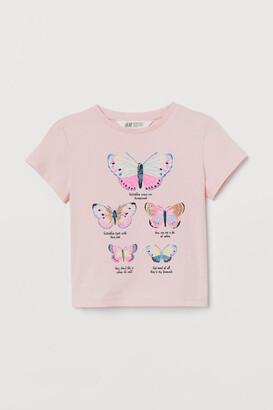 H&M Printed Jersey Top - Pink
