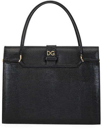 Dolce & Gabbana Ingrid Iguana-Embossed Large Top Handle Bag