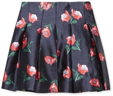 Oscar de la Renta Painted Poppies Mikado Box Pleat Skirt