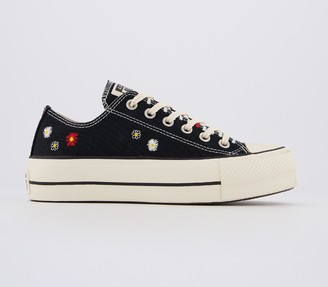 Converse Low Platform Trainers Black Natural Ivory Black Embroidered Flower