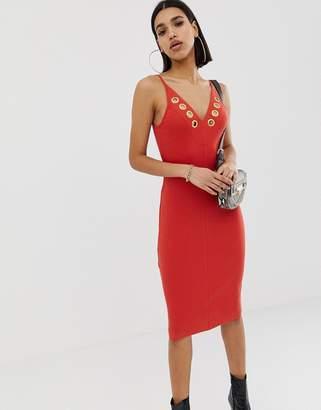 Asos Design DESIGN eyelet cami bodycon dress in rib