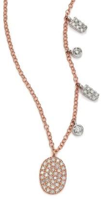 Meira T Diamond & 14K Rose Gold Oval Pendant Necklace