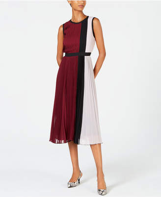 Alfani Colorblocked Pleated Sleeveless Dress