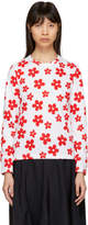 Comme des Garcons White and Red Long Sleeve Flower Print T-Shirt