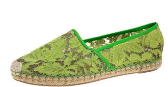 Valentino Neon Green Lace Espadrilles Size 39