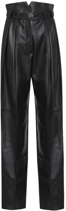 Fendi High-rise leather straight pants