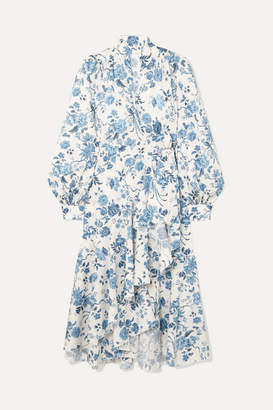 Anna Mason - Stella Floral-print Cotton-poplin Wrap Dress - Blue