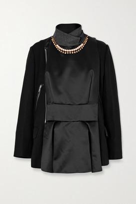 Sacai Leather-trimmed Embellished Paneled Wool And Shell Jacket - Black