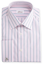 Brioni Wide-Stripe Dress Shirt, Pink/Gray