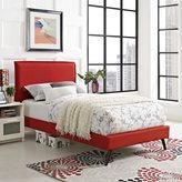 Modway Camille Atomic Red Fabric Platform Bed With Round Splayed Legs