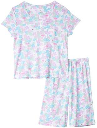 Karen Neuburger Petite Tropical Capsule Short Sleeve Pullover Bermuda Pajama (Caribbean Queen White) Women's Pajama Sets