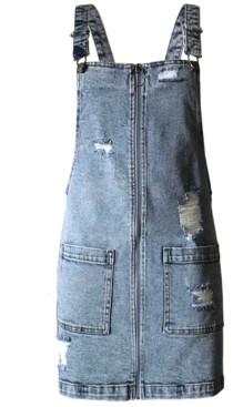 Tinseltown Juniors' Ripped Denim Overalls Dress