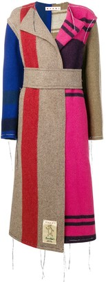 Marni Contrast Panel Unfinished Long Coat