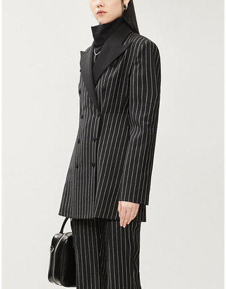 Hyun Mi Nielsen Pinstriped padded-shoulder wool blazer
