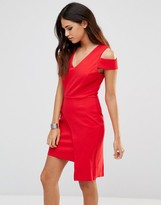 Adelyn Rae Red Cut Out Panel Skirt Dress