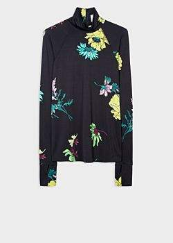 Women's Black 'Scattered Floral' Print Funnel Roll Neck Sweater