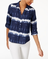 INC International Concepts Petite Cotton Tie-Dyed Shirt, Created for Macy's