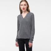 Paul Smith Women's Glittered Grey Wool-Blend V-Neck Sweater