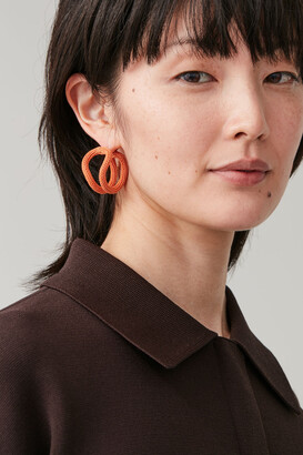 Cos Fabric-Covered Round Earrings