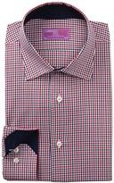 Lorenzo Uomo Gingham Trim Fit Dress Shirt